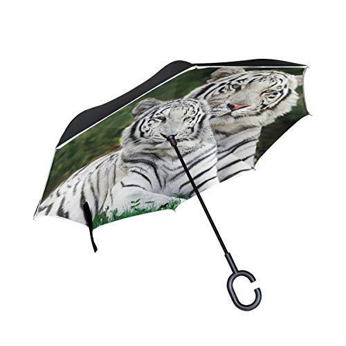 Reverse Umbrella,White Tiger Togather Inverted Night Reflective Edge Golf Umbrellas,Double Layered Polyester Canopy,O-Shape Handle