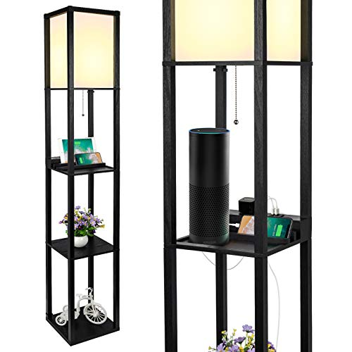 3-in-1 Shelf Floor Lamp with 2 Fast Charging USB Ports and 1 Power Outlet, 3-Tiered LED Shelf Floor Lamp, Shelf & Storage & LED Floor Lamp Combination, Modern Standing Light for Living Room, Bedroom