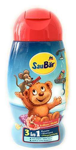 SauBär Dusche+Shampoo+Spülung 3in1 Erdbeer-Shake, 250 ml