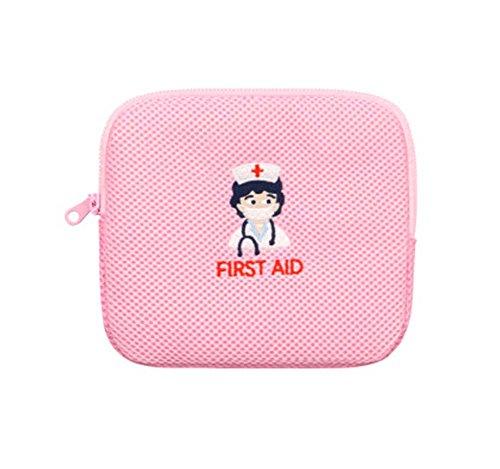 Pequeño bolso de la enfermera del bordado de la enfermera de los primeros auxilios, color de rosa
