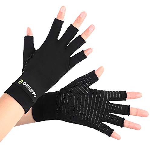 DISUPPO Kupfer Arthritis-Handschuhe, Copper Infused Kompressionshandschuhe für Frauen lindern Schmerzen bei Rheuma, RSI, Karpaltunnel, Kompressionshandschuhen für das Computertippen, tägliche Arbeit-L