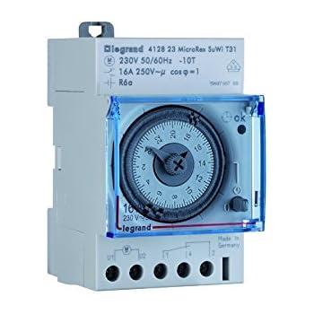 Legrand LEG412795 Inter-horaire programme analogique Cadran horizontal hebdomadaire avec R/éserve marche
