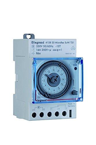 Legrand 412823 Interrupteur horaire analogique modulaire programmable automatique journalier, 1 sortie 16A 250V, 3 modules