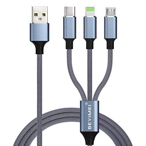 BEYIMEI Micro USB Cavo Universale 3 in1 Multi Cavo di Ricarica,1.2M 3A/ Micro USB/USB Tipo C in Nylon Intrecciato per Nexus 6P 5X/Google Pixel/Samsung Galaxy/Huawei/Honor/Xiaomi/LG