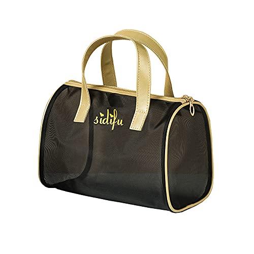 Neceser para mujer, bolsa de aseo de malla negra a la moda, bolsa de almacenamiento de cosméticos para el cuidado de la piel, transpirable y transparente