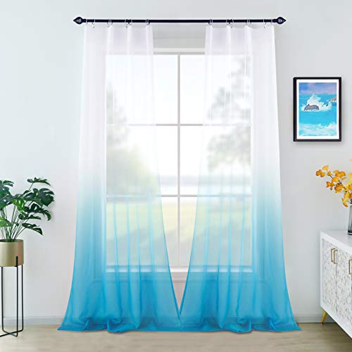 Blue Ombre Curtains 96 Inches Long for Bedroom Set 2 Panels Rod Pocket Elegant Beach Decor Ombre Ocean Curtains for Living Room Dining Room Sliding Glass Door Backdrop Teen Girls Fade Ambre Hombre