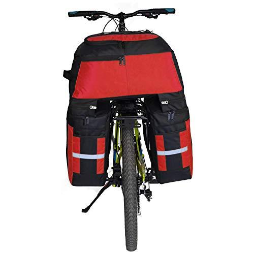 Alforjas para Bicicletas,Alforja Maletero Impermeable, 3 Compartimentos para Portaequipajes Asiento Trasero de Bicicleta de Carretera Bicicleta Pannier(Rojo)