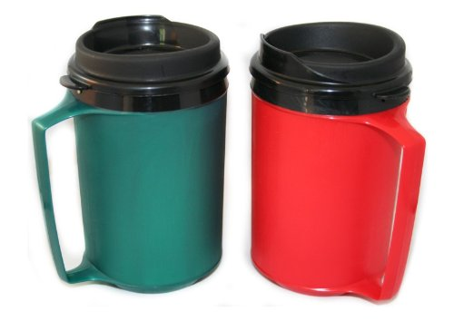 GAMA Electronics 2 ThermoServ Foam Insulated Coffee Mugs 12 oz (1) Green & (1) Red