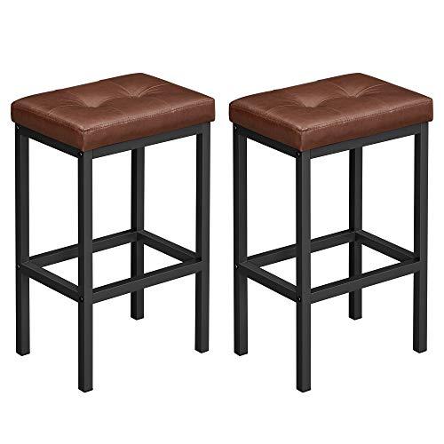 VASAGLE Barhocker, 2er Set, Barstühle, 40 x 30 x 62 cm, rückenfrei, PU-Bezug, einfache Montage, Industrie-Design, für Esszimmer, Küche, Theke, Bar, braune Sitzfläche und schwarzes Gestell LBC068B82