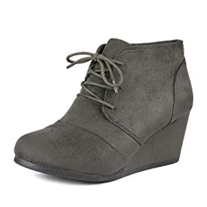 DREAM PAIRS Women's Casual Fashion Lace Up Low Wedge Heel Booties Shoe