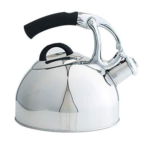 Théière XINYALAMP Whistling Kettle for Le gaz HOB, Whistling Voyager en Acier Inoxydable Bouilloire Pêche Caravane Maison Gas 2.5 Liter Maison de Vacances (Color : Silver, Size : 2.5kl)