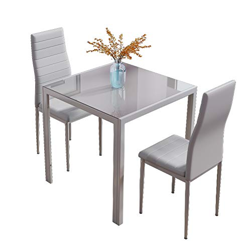 BELIWIN Glass Dining Set Table Square and 2 Chairs High Back Soft Padded for Kitchen and Living Room (Grey)