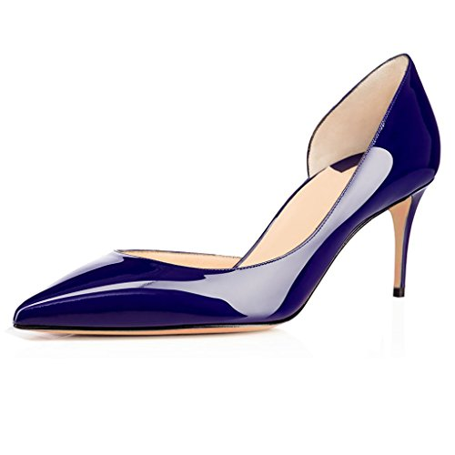 elashe Spitze Damen Pumps | 6.5CM Cut Out Lack Stilettos | Elegante High Heels Blau EU38