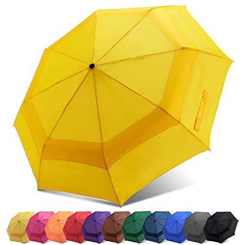Fidus Automatic Windproof Vented Sun&Rain Travel Umbrella with Double Canopy - Collapsible Compact Lightweight Umbrella