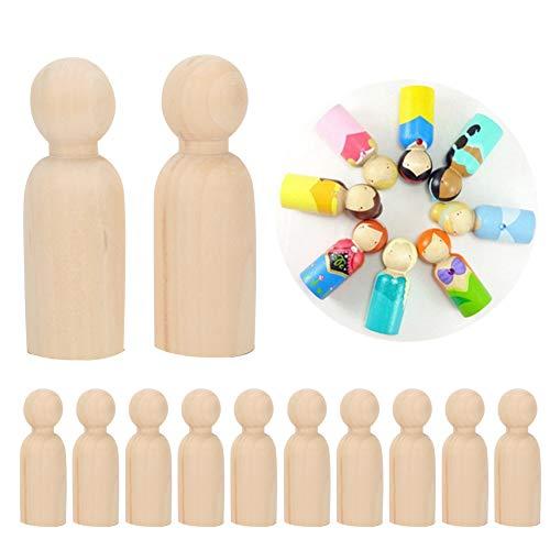 Exblue Cuerpos de muñecas de Clavija de Madera, 10 Piezas 75 mm Formas de Personas inacabadas Cuerpos de Personas de Madera Muñecas de ángel para Manualidades DIY, Hombre