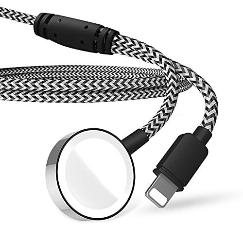 Tragbares 2-in-1-Ladekabel, kompatibel mit iPhone & Apple Watch Series 6 5 4 3 2 1 iWatch-Ladegerät für 38 42 mm iWatch - 1,2 m