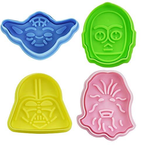 4 Stück Fondant Ausstecher Set Star Wars Ausstechformen Keksausstecher Diy Cookie Cutter Plätzchenformen für Kinder Star Wars Ausstecher Tortendeko 3D Fondant Plätzchen Ausstecher für Keks