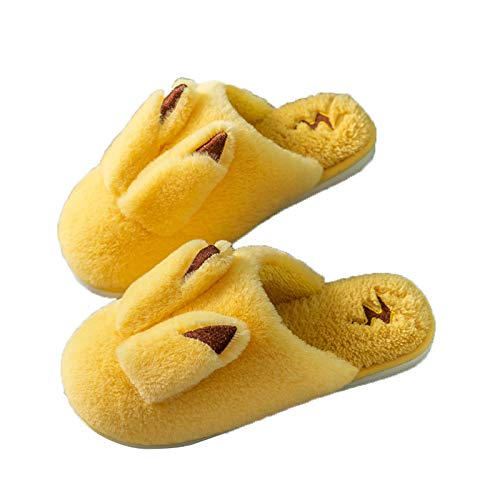 Ladies Slippers with cute bunny ears, Slippers Hard Sole Winter Comfy Warm Cotton Slipper Indoor Faux Fur Shoes for Kidls Girls