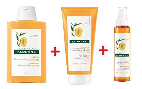 Klorane Champú + Bálsamo + Aceite de mango, juego de viaje Nutritivo y riparatore para pelo Cubos 100+ 50+ 125ml