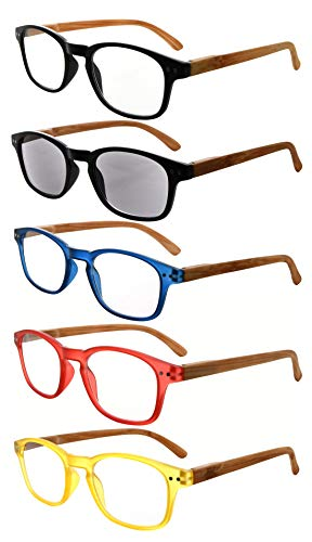 Eyekepper pack de 5 primavera bisagra venas la madera impreso brazos gafas +1.50