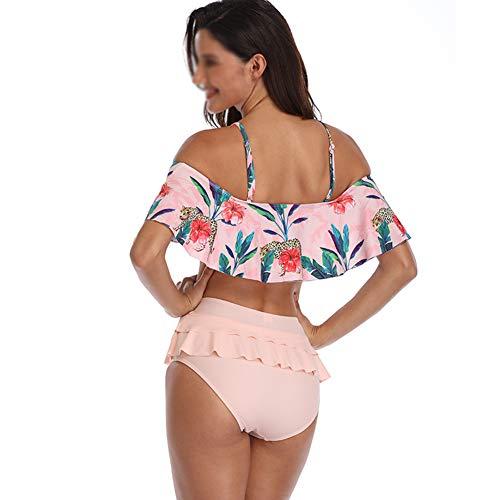 HXZZP Bikini mit Schriftzug und Schultern, hohe Taille, für Frauen und Damen, mit tropischem Print, Rose, XL