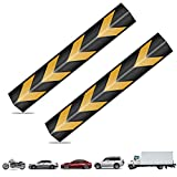 MBQMBSS Pair of Rubber Corner Guards 30' Reflective Corner Guard Wall Corner Protector L-Shaped with Yellow Strips for Parking Garages/Warehouses