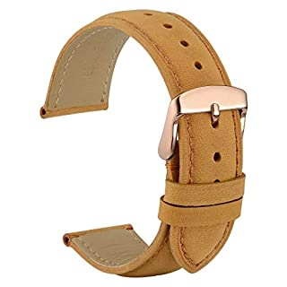 WOCCI 22mm Vintage Leather Watch Band with Rose Gold Buckle, Replacement Watch Strap (Light Brown/Tone on Tone Seam) (B0719B5PLK) | Amazon price tracker / tracking, Amazon price history charts, Amazon price watches, Amazon price drop alerts