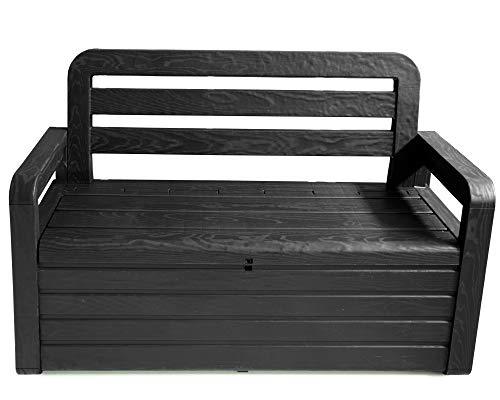 Ondis24 Gartenbank Spring mit Kissenbox, Kunststoff, Anthrazit, ca. 133 x 58 x 89 (H) cm, 263L Volumen, bis ca. 320 kg belastbar