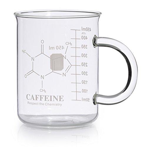 Caffeine Beaker Mug, Caffeine Molecule Mug - Chemistry Mug 16 oz Borosilicate Glass Coffee Mugs with Handle and Measuring for Coffee, Latte, Tea or Hot and Cold Beverage, - Tea Coffee Mug by Amugo