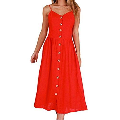 ESAILQ Damen Sommerkleid ohne ärmel Knielang Strandkleid Elegant Partykleid cocktailkleid Spitze Druck A-Linie Kleider(M,Rot)