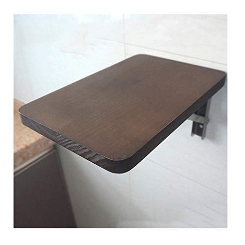 YDDZ Mesa Colgante de Pared Vertical Color Nogal Madera Maciza Plegable Panel de 20 Mm De Espesor Mesa de Comedor de Esquina Redonda de Seguridad Soporte de Acero Inoxidable Escritorio 12 Tamaños
