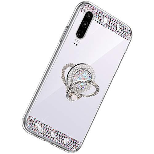 Herbests Kompatibel mit Huawei P30 Hülle Glitzer Kristall Strass Diamant Silikon Handyhülle mit Ring Halter Ständer Schutzhülle Überzug Spiegel Clear View Handytasche,Silber