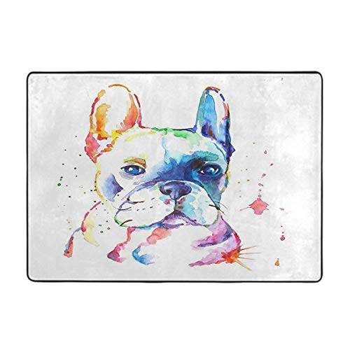 Carpet Protector mat French Bulldog Original Watercolor Illustration 5' x 6' Area Rug for Playing Room