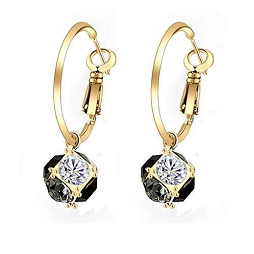 Pendientes mujer aros plata de ley 925 de chapado en oro con colgantes de pequeña bola de circonita de crystal joyería aretes de moda para mujeres y niñas