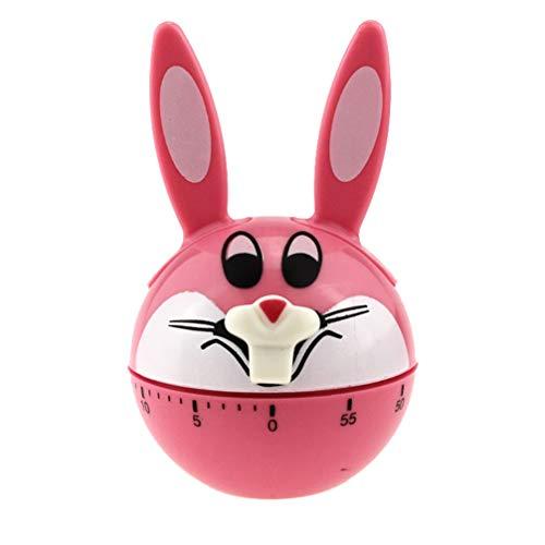 BESPORTBLE Mechanische Bunny Küche Timer Wind Up Kaninchen Timer Countdown Erinnerung Laute Ring Nette Zeit Management für Kochen Lernen Geburtstag Ostern Geschenk (Rosa)