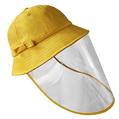 General Sombrero Protector Clear Face Shield Full Head Cover Protección Solar Outdoor Bowknot Bucket Hat para Niños,L