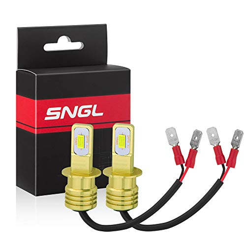 SNGL H3 LED Fog Light Bulb 6000k Xenon White Extremely Bright High Power H3 LED Bulbs for DRL or Fog Light Lamp Replacement