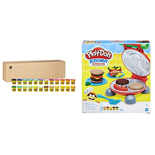 Hasbro Play-Doh- Play-Doh Pasta da Modellare, 24 Vasetti, 20383F03 & -B5521Eu6 Play-Doh Kitchen Creations Il Burger Set, Colore, 0816B5521Eu6