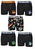 FREEGUN Lot 5 Boxers Enfant Microfibre (12-14 Ans, Serie 3 (Football))