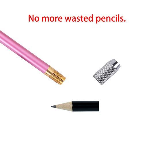 5pcs Odd Head Art Pencil Extender Lengthener Holder Wooden Handle