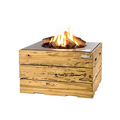 MANIA Feuertisch für den Garten - Gas Feuerstelle ohne Rauch, Funken, Glut & Asche - Gas Feuertisch Outdoor mit 19,5 kW & Treibholz Verkleidung grau 76 x 76 x 46 cm - Gasfeuerstelle Terrassenkamin
