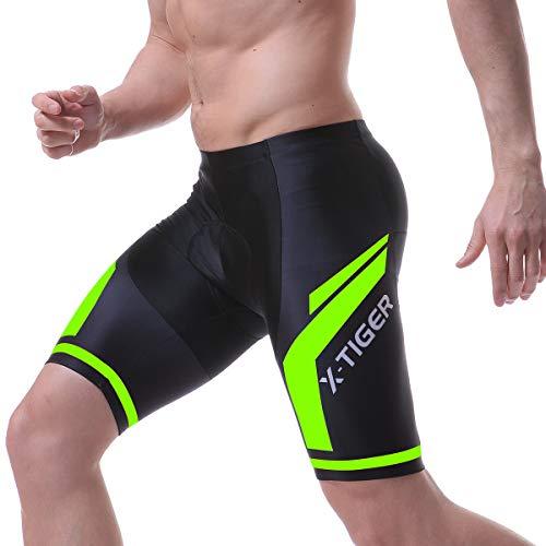 X-TIGER Hombres de Bicicleta con 5D Gel Acolchado MTB Ciclismo Tirantes Culotte Pantalones Cortos Culotes (XXL=XL(EU), Verde Pantalones Cortos)