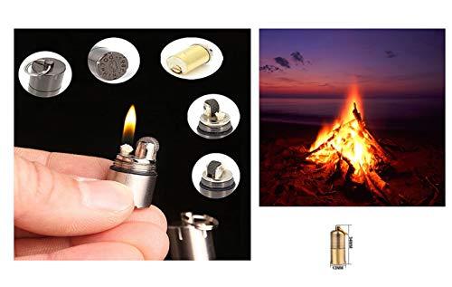 Eva Shop® Premium Outdoor Mini Benzin Kerosin Feuerzeug Magnesium Feuerstarter Feuerstahl Survival Feuerzeug Permanent Matches Feuerstein Zündstein Flint Firestone Anzünder für Camping, Survival UVM.