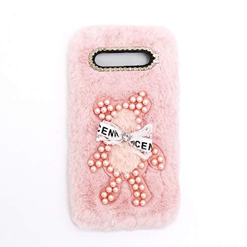 YHY Funda Teléfono Pearl Bear Plush para Samsung Galaxy J5 Carcasa De Felpa De Silicona Suave y Elegante La Piel Rosado