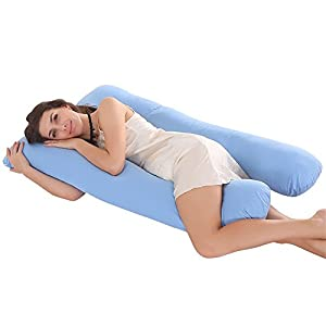 Jian Ya NA - Almohada de lactancia en forma de U para dormir lateral, almohada de algodón cómoda para dormir, cojín de lactancia para bebé, funda de almohada con cremallera
