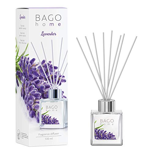 BAGO home Fragrance Oil Reed Diffuser Set with Sticks - Lavender | Lavender, Jasmine & Tonka Beans Notes | 100 ml 3.4 oz | Great Home, Office & Room Decor