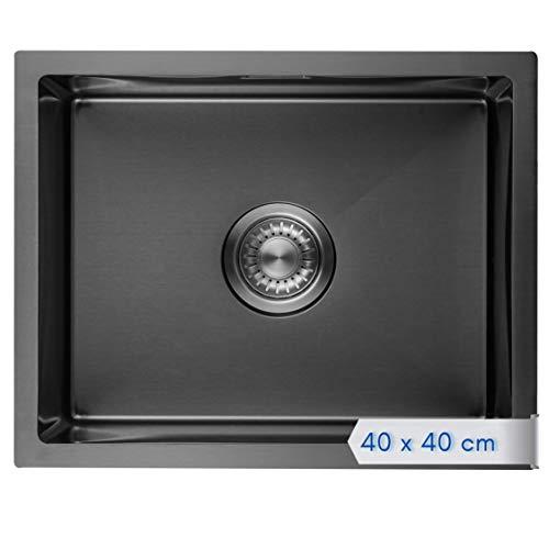 LOMAZOO Spüle Schwarz | Spülbecken Edelstahl | Schwarze Küchenspüle Einbauspüle | Waschbecken Küche | 40 x 40 cm
