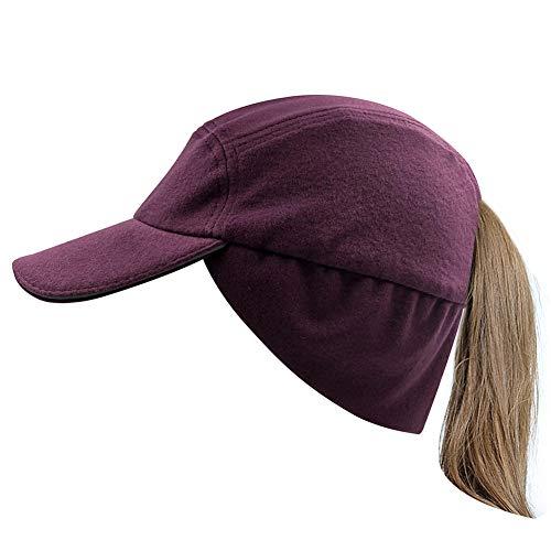 Winter Messy Bun Ponytail Hats for Women Fleece Warm Hats with Drop Down Ear Warmer Skull Cap Purple