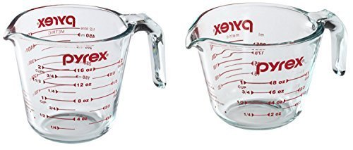Pyrex Prepware 2-Quart Measuring Cup, Clear with Red Measurements - 1-Cup & 2-Cup by Pyrex