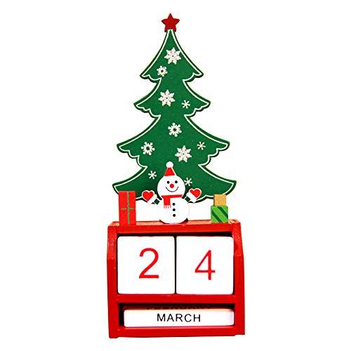 Gespout Décoration de Noël Décoration en Bois Calendrier Créatif de Noël Ornements de Bureau de Noël Intérieur Maison Salon Fête Parfaite Décoration Cadeau de Noel pour Enfants